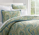 Karen Paisley Wholecloth Quilt, Twin, Blue