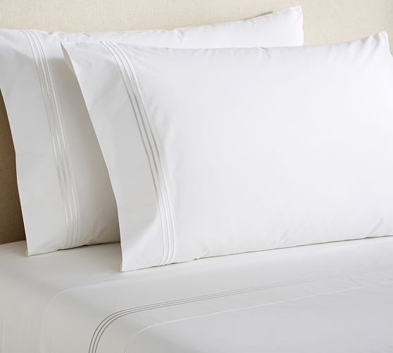Grand Embroidered 280-Thread-Count Extra Pillowcases, Set of 2, Standard, White