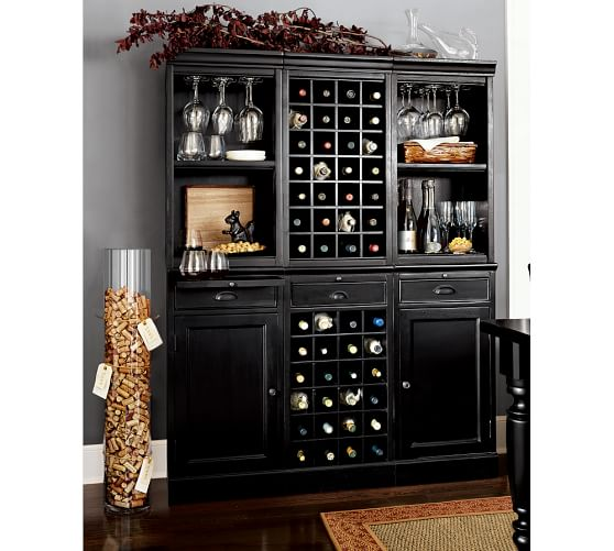 6-Piece Modular Wall Unit (2 wood door cabinet & 1 wine grid base, 2 open & 1 wine grid hutch), Black