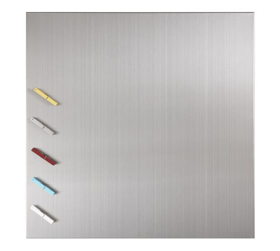 "Magnetic Square Board, 24"" Sq. Stainless Steel (includes 5 clothespin magnets)"