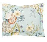 Nautilus Floral Organic Cotton Sham, Standard, Porcelain Blue