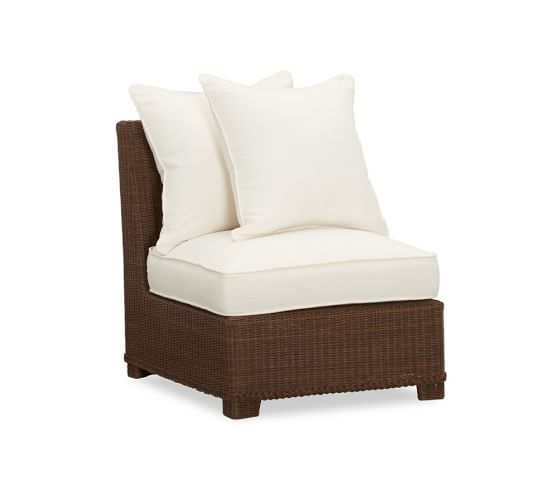 Palmetto All-Weather Wicker Armless Chair, Honey