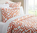 Shelby Geo Duvet Cover, Full/Queen, Ivory/Clementine