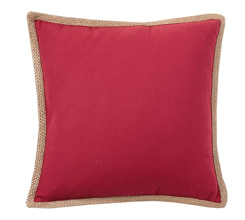 Outdoor Synthetic Jute Trim Pillow, 20