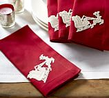 Sleigh Bell Crewel Embroidered Dinner Napkin, 20