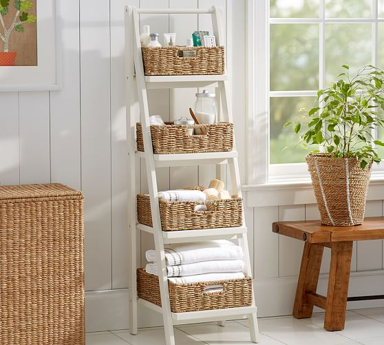 Ainsley Ladder Floor Storage With Baskets Pottery Barn
