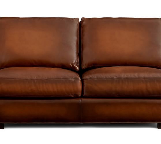 Turner roll arm leather 3 piece l shaped sectional for Affordable furniture 3 piece sectional in wyoming saddle