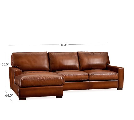 Turner square arm leather sofa with chaise sectional for Chaise leather sofa