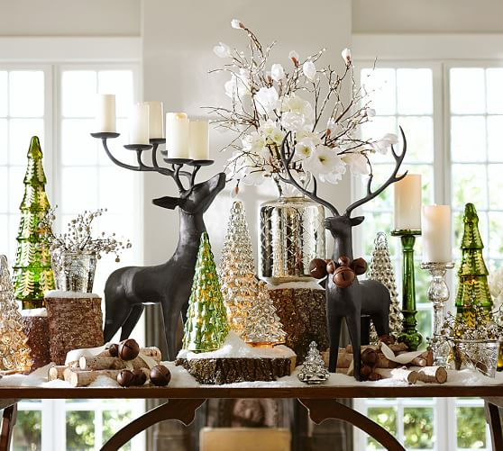 Greenhills Christmas Decor : Green mercury glass trees pottery barn