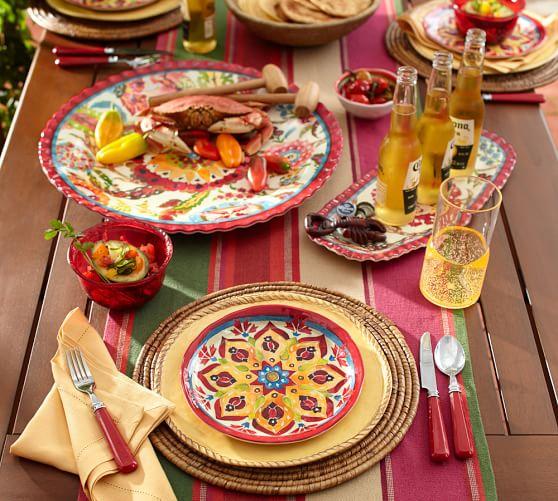 Cabo Melamine Dinnerware Set Of 4 Red Pottery Barn