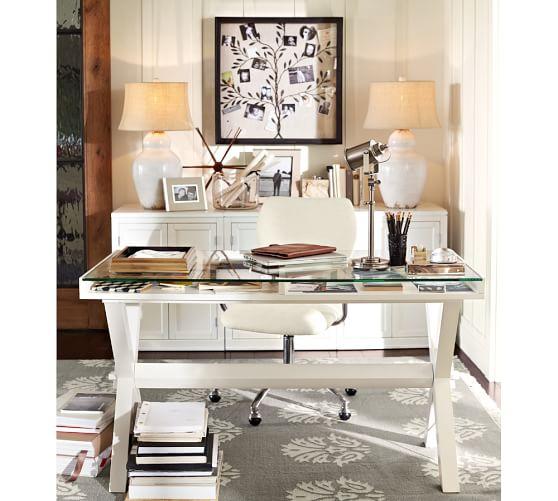 Ava glass display wood desk pottery barn - Pottery barn office desk ...