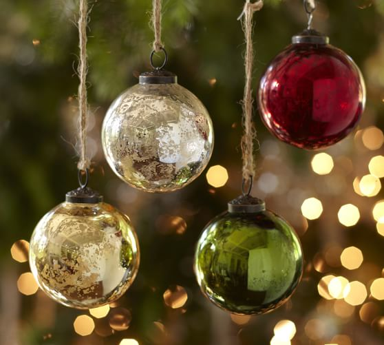 Mercury glass ball ornaments silver gold set of