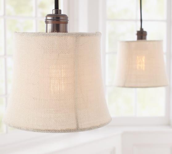 Pottery Barn Pendant Track Lighting : Burlap shade pendant track lighting pottery barn