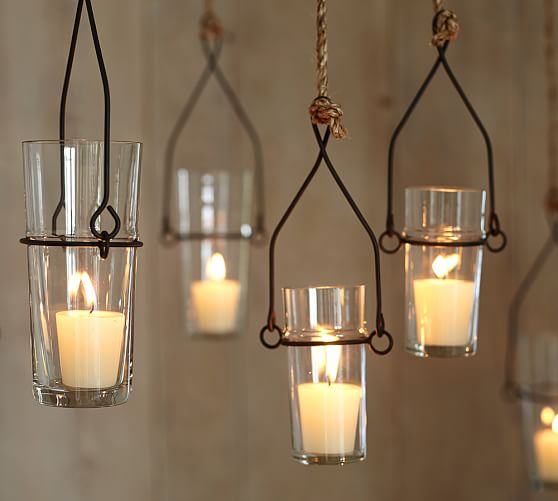 Wire glass hanging votive holder pottery barn for Hanging votive candles