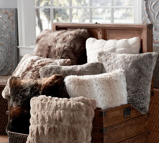 Faux Fur Pillow Cover Brown Bear Pottery Barn