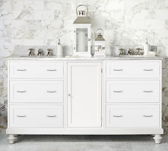 Custom classic double sink console with drawer storage carrara marble pottery barn for Custom double sink bathroom vanity