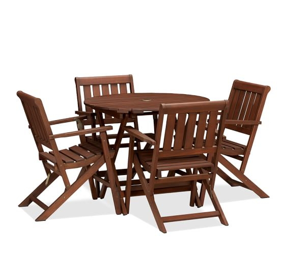 Chatham Round Folding Bistro Table & Armchair Set