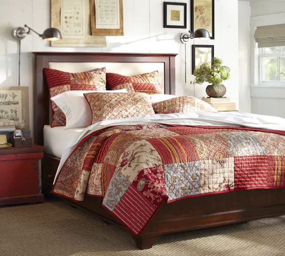 georgia patchwork quilt sham red pottery barn. Black Bedroom Furniture Sets. Home Design Ideas
