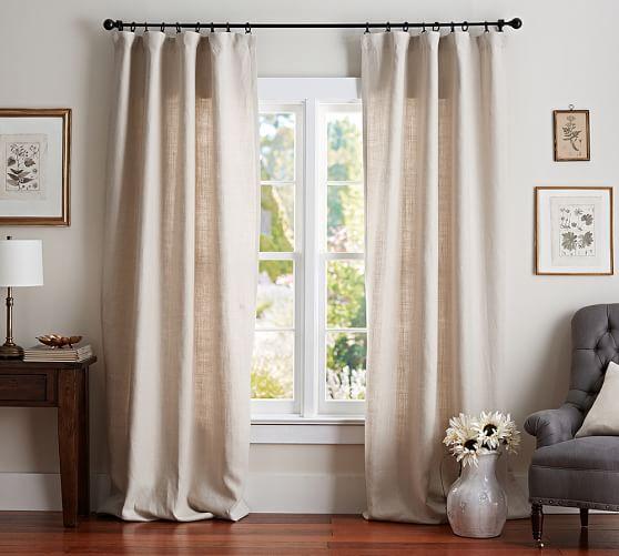 belgian flax linen drape pottery barn. Black Bedroom Furniture Sets. Home Design Ideas