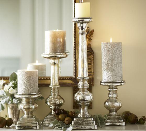 Antique Mercury Glass Pillar Holder Pottery Barn