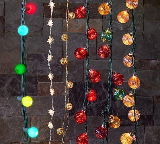Mercury Glass Globe String Lights, Red Pottery Barn