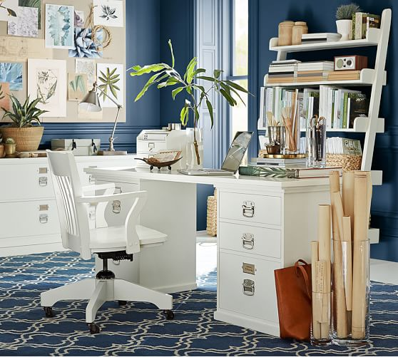 Pottery Barn Blue Kitchen Set: Bedford Rectangular Desk Set