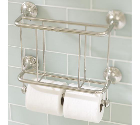 Mercer magazine rack paper holder pottery barn for Magazine holder wall mount for bathrooms