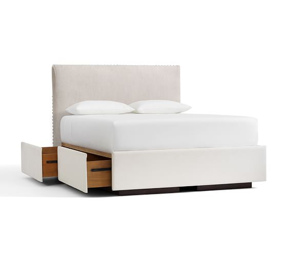 Raleigh upholstered nailhead square tall headboard for Platform bed with upholstered headboard