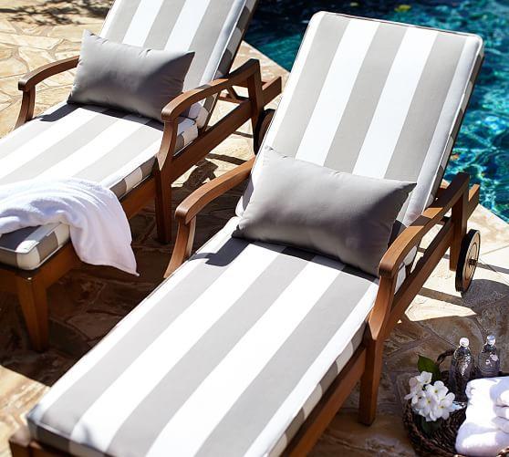 Sunbrella® Piped Outdoor Chaise Cushion - Stripe | Pottery ...