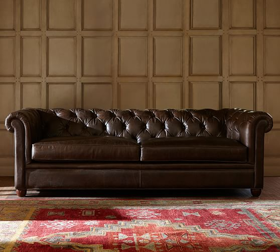 Chesterfield leather sofa pottery barn for Pottery barn chesterfield sofa sectional
