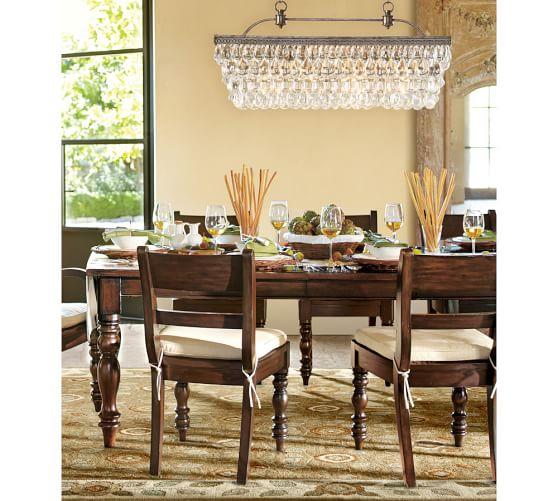 Pottery Barn Dining Room Lamp: Clarissa Crystal Drop Rectangular Chandelier