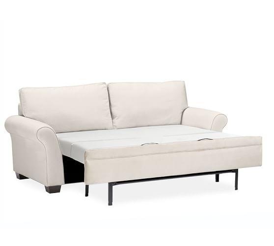 Pb comfort roll arm upholstered deluxe sleeper sofa for Sectional sleeper sofa pottery barn