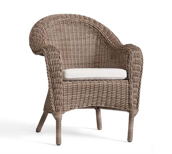 Torrey all weather wicker roll arm dining chair natural for All weather wicker furniture