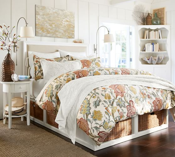 Stratton storage bed with baskets bed dresser set for Cynthia storage bed