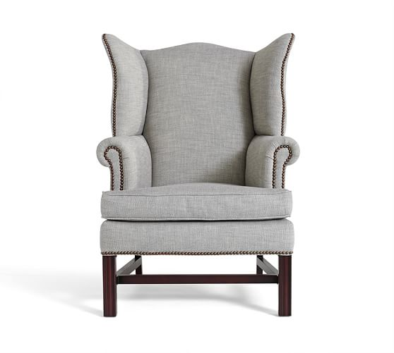Thatcher upholstered wingback chair pottery barn for Wingback chair