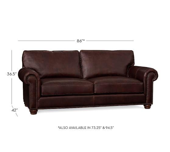 webster leather sofa pottery barn. Black Bedroom Furniture Sets. Home Design Ideas