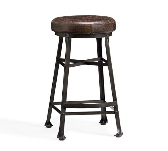 Decker Leather Seat Barstool Pottery Barn