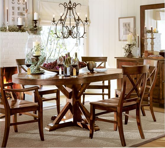 benchwright extending pedestal dining table pottery barn