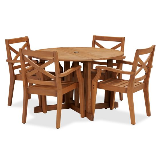 Hampstead teak round drop leaf dining table chair set for Round drop leaf dining table