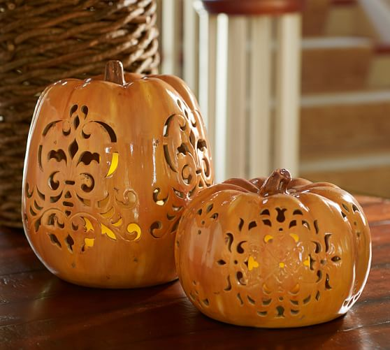 Fall decorating ideas for office - Punched Ceramic Pumpkin Luminaries Pottery Barn