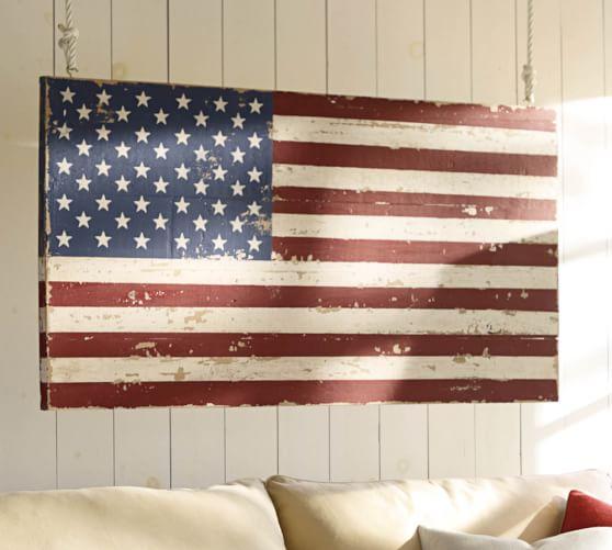 Painted american flag pottery barn American flag wood wall art