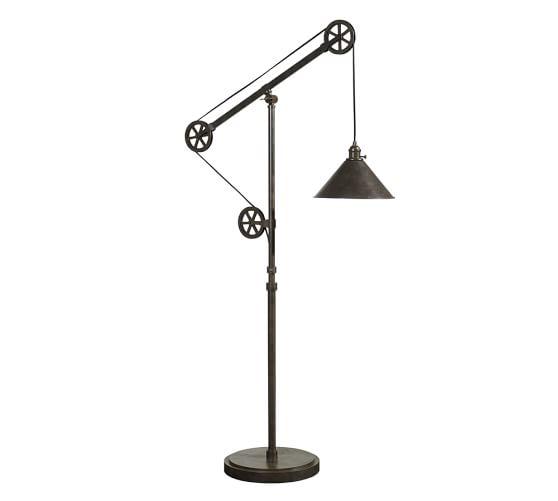 warren pulley task floor lamp pottery barn. Black Bedroom Furniture Sets. Home Design Ideas