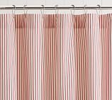 Ruffled Ticking Stripe Shower Curtain, Red