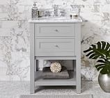 Classic Sink Mini Console, Gray, Carrara Marble & Chrome Finish Knobs