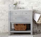 Classic Single Sink Console, Gray, Carrara Marble & Chrome Finish Knobs