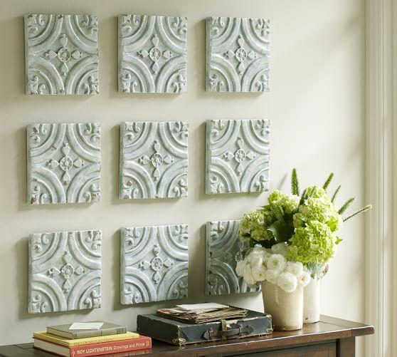 Ceramic Art Tile : Blue ceramic tile wall art pottery barn