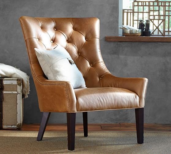 Armchairs Leather: Hayes Tufted Leather Armchair