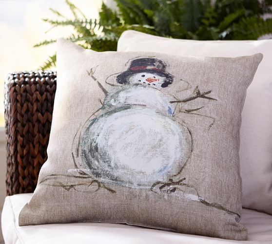 Painted Snowman Indoor Outdoor Pillow Pottery Barn