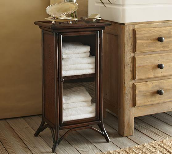 12 Deep Bathroom Floor Cabinet : Classic rattan floor cabinet pottery barn