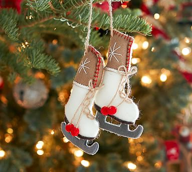 Felted Pair Of Ice Skates Ornament Pottery Barn